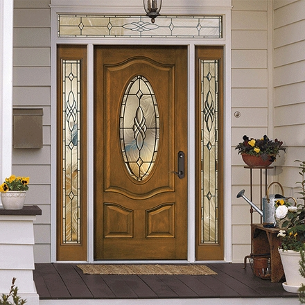 Architect Series 3 Panel Deluxe Oval Entry Door with Glass